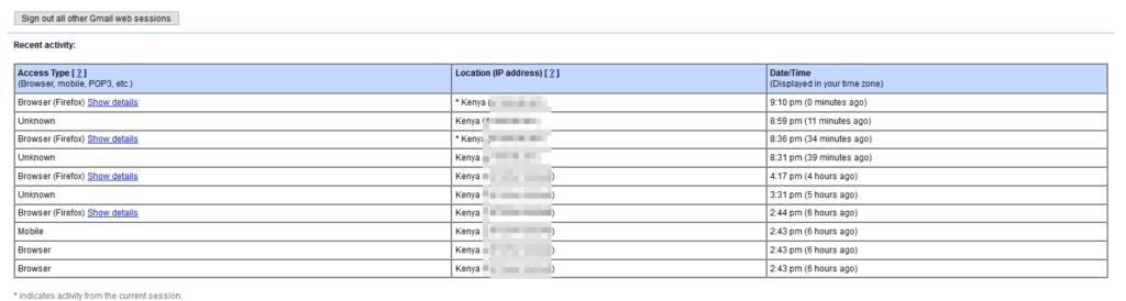 Gmail session details
