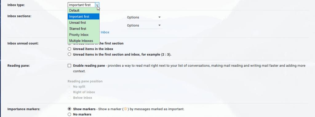 Gmail inbox modes optomita